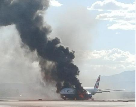 British Airways plane catches fire at Las Vegas airport