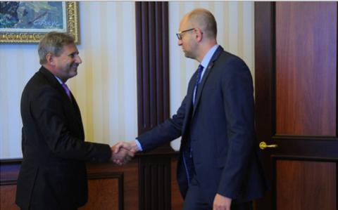 Arseniy Yatsenyuk met with EU Commissioner for Enlargement and Neighbourhood Policy Johannes Hahn