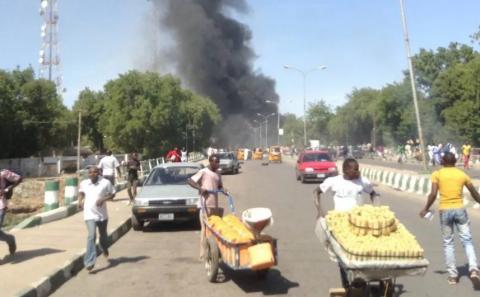 Twin bomb blasts hit Maiduguri mosque, kill many