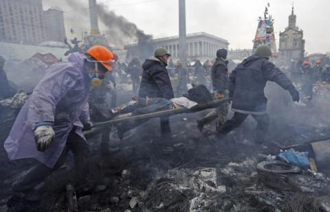 Kyiv Berkut unit killed 39 unarmed protesters on Instytutska Street on Feb 20, 2014 - PGO