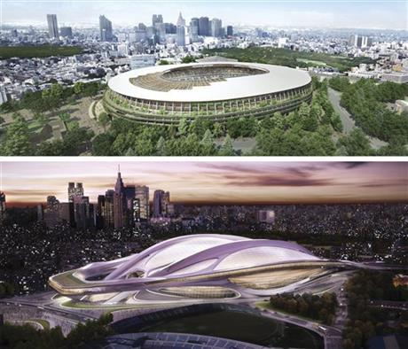 The old and new designs for the Tokyo 2020 Olympic stadium