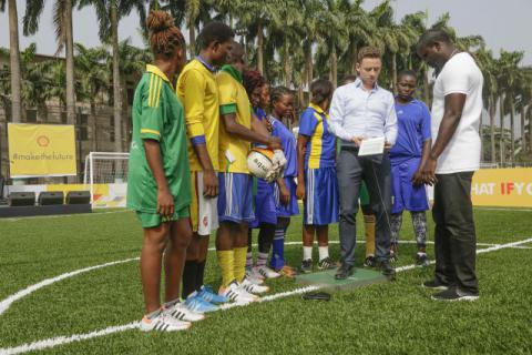 A solar-powered soccer pitch in Lagos also uses players' footfall to keep the lights on