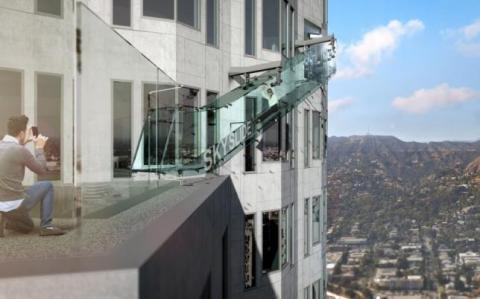 Slip sliding away, atop a Los Angeles skyscraper