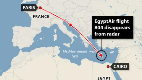EgyptAir flight MS804 disappeared from radar over Mediterranean