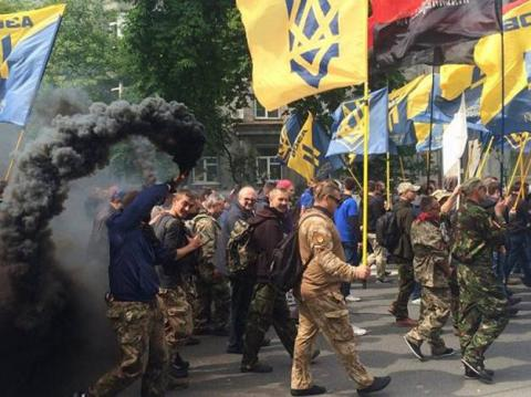 Azov battalion use smoke grenades and pyrotechnics protesting local elections in eastern Ukraine (PHOTO)
