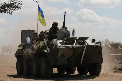 Ukrainian APC blown up in ATO zone; 8 servicemen injured