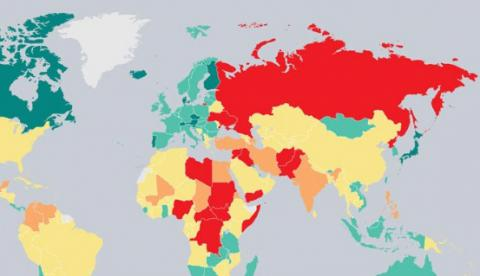 Ukraine is on 156th place in Global Peace Index