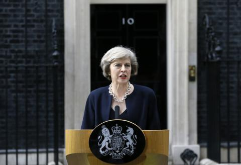 Theresa May entered No. 10, Downing St., as Britain's new prime minister