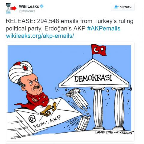 WikiLeaks published thousands of emails of Turkish ruling party
