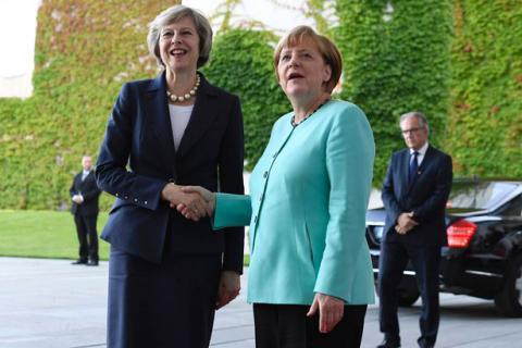 May meets Merkel: talks over Brexit