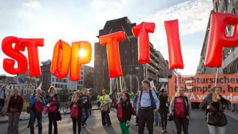 Brussels in protests against transatlantic free trade deals
