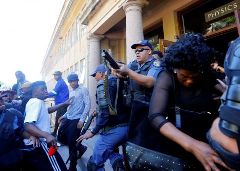 South African police fired rubber bullets at protesting students