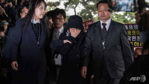 Main figure in South Korea political scandal came to prosecutors' office