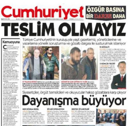 """""""We will not surrender"""": Turkish Cumhuriyet newspaper"""