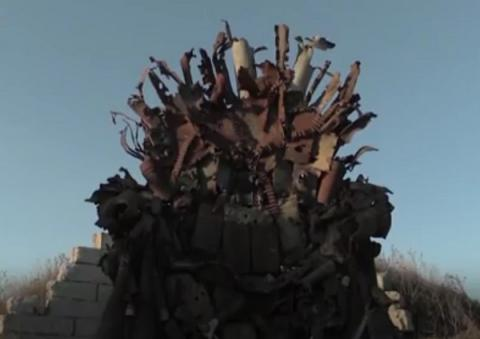 Ukrainian soldiers, volunteers made Iron Throne of parts of actual weapons (VIDEO)