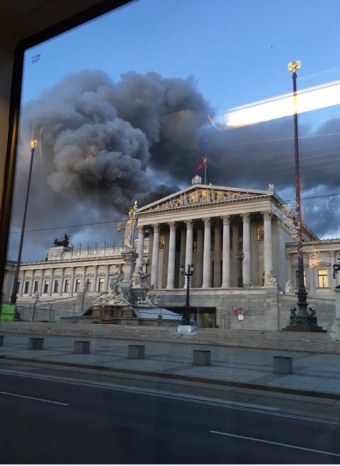 Roof of Vienna's parliament building goes up in flames