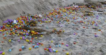Thousands of plastic toy eggs flood German beach
