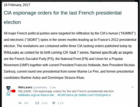 WikiLeaks: CIA ordered spying on French 2012 election