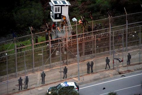 300 African migrants jump border fence between Morocco and Spanish Ceuta