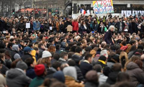 "Demonstrators in France protested ""fake jobs"" and ""corrupt"" politicians"