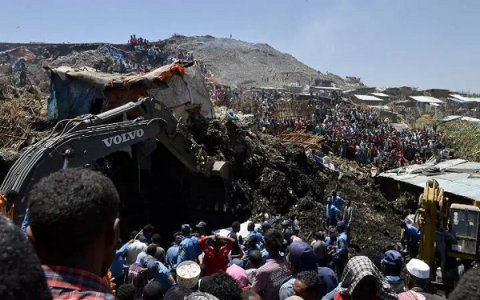 Giant landslide at Ethiopia's largest rubbish dump kills 46, injures dozens
