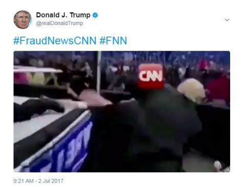 Trump tweets mock video showing him beating CNN (VIDEO)
