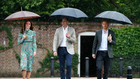 William and Harry visit Princess Diana memorial