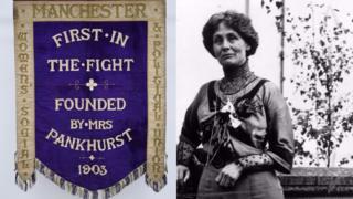 Emmeline Pankhurst's suffragette banner returns to Manchester